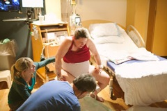 Pushing on a birth stool with an epidural!