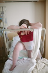 Using a squat bar for pushing with an epidural.